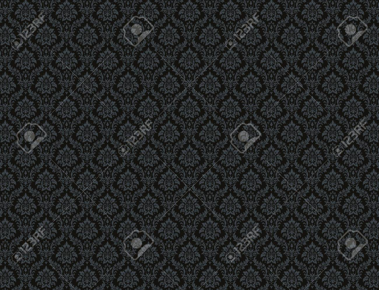 Black Damask Wallpaper With Royal Floral Patterns Stock Photo