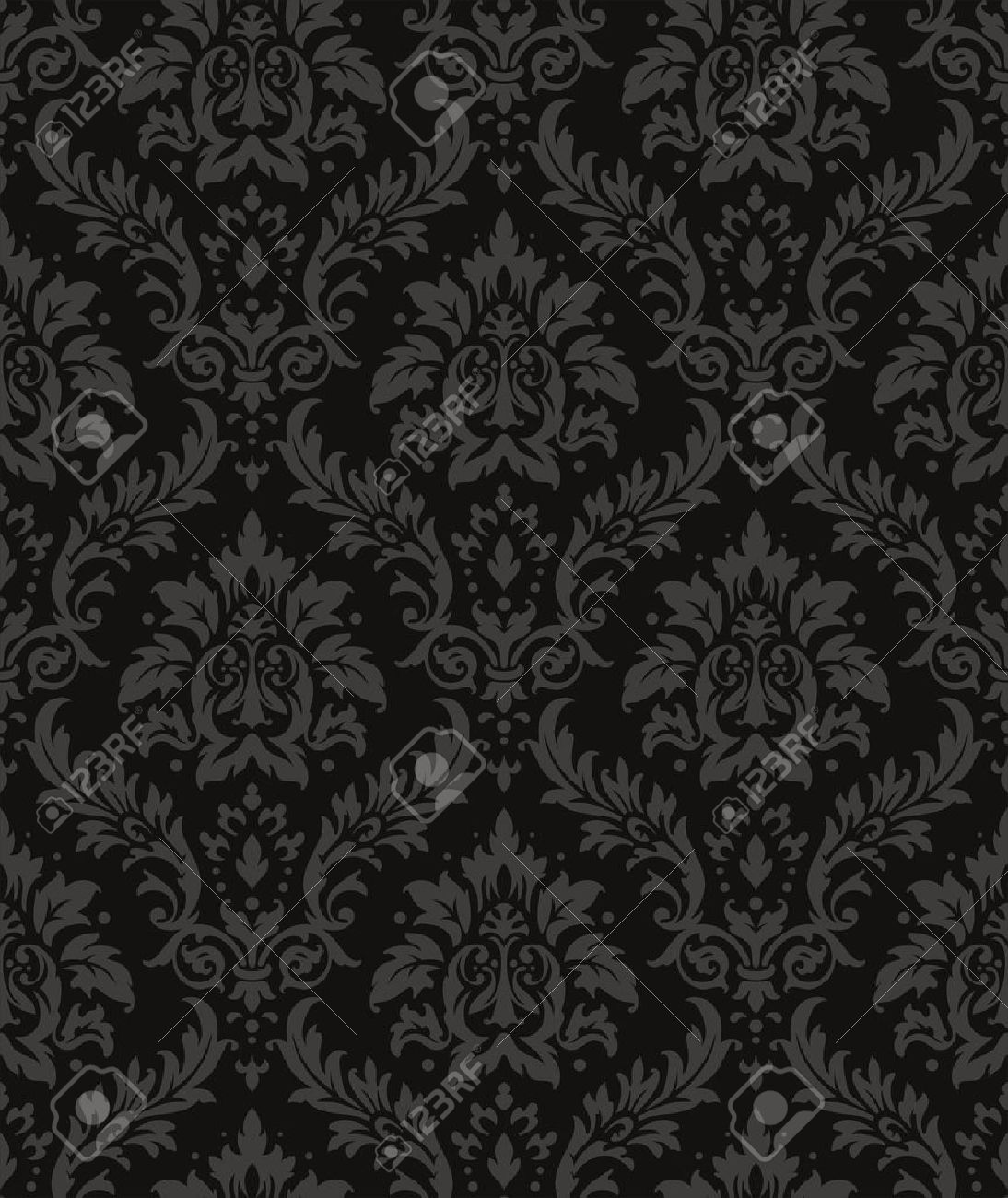 Old Style Damask Wallpaper Seamless Vector Floral Patterns Stock
