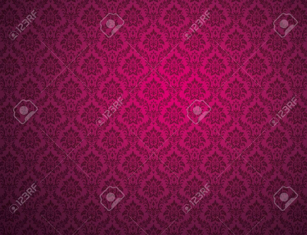 花柄とパープルのダマスク織の壁紙 の写真素材 画像素材 Image 71537652