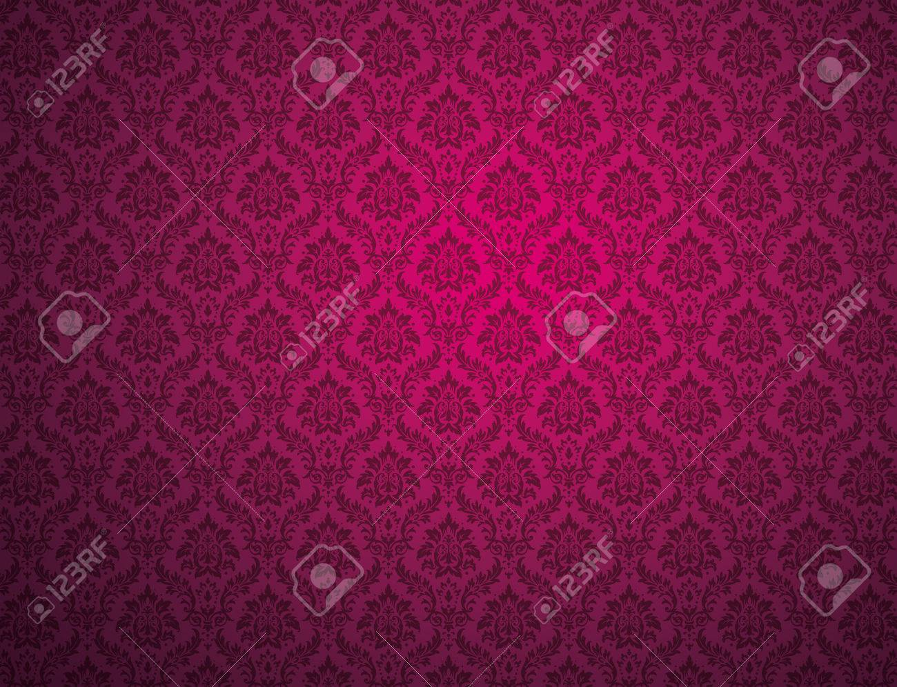 Purple Damask Wallpaper With Floral Patterns Stock Photo