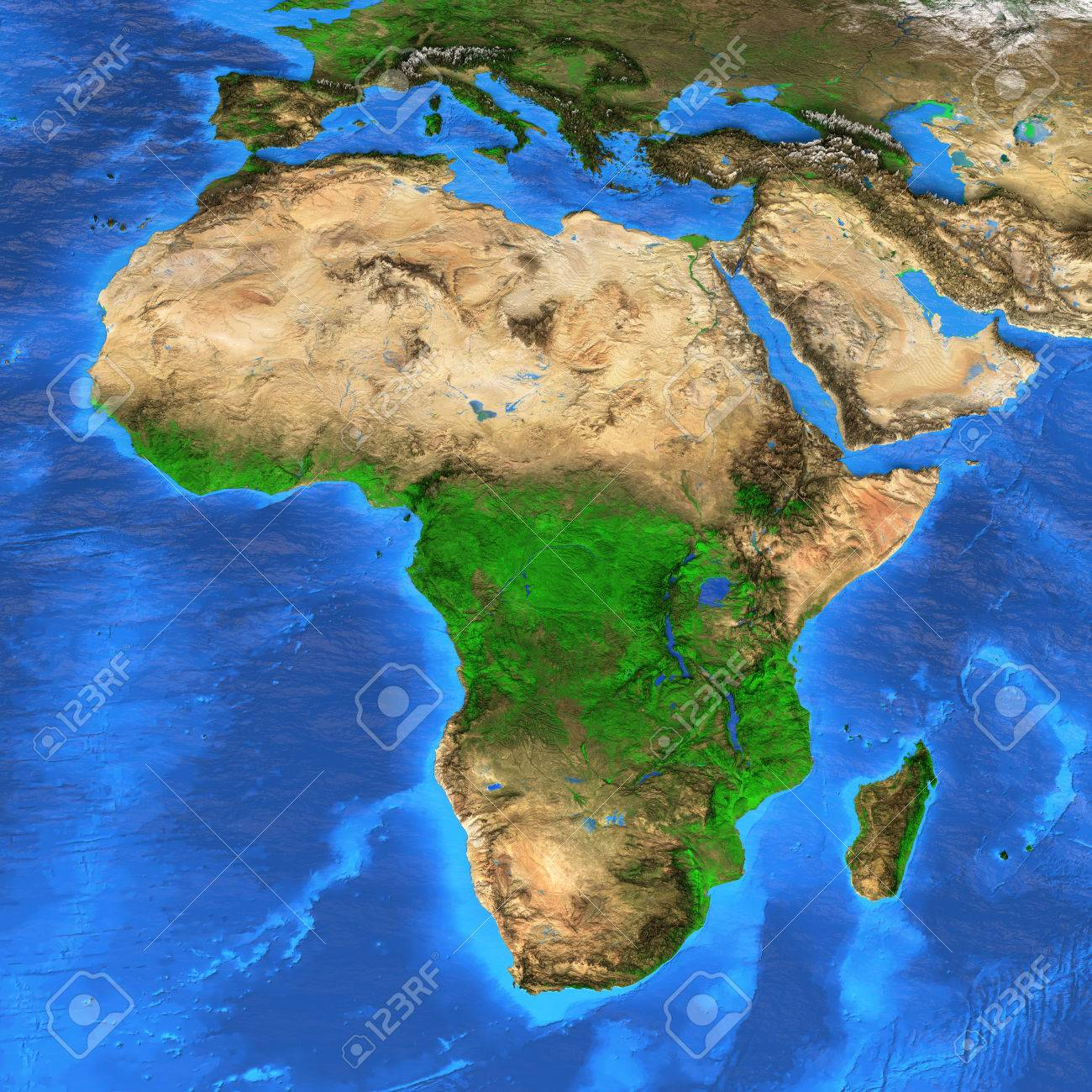Detailed Satellite View Of The Earth And Its Landforms Africa