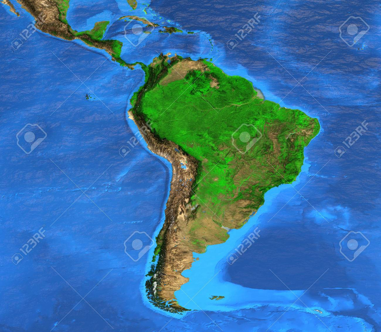 detailed satellite view of the earth and its landforms south america map elements of