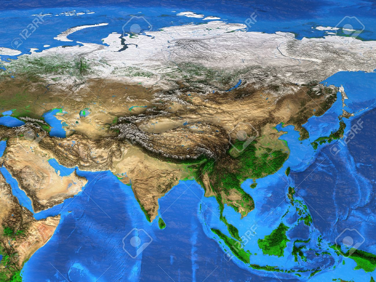 Map Of Asia Landforms.Detailed Satellite View Of The Earth And Its Landforms Asia Stock