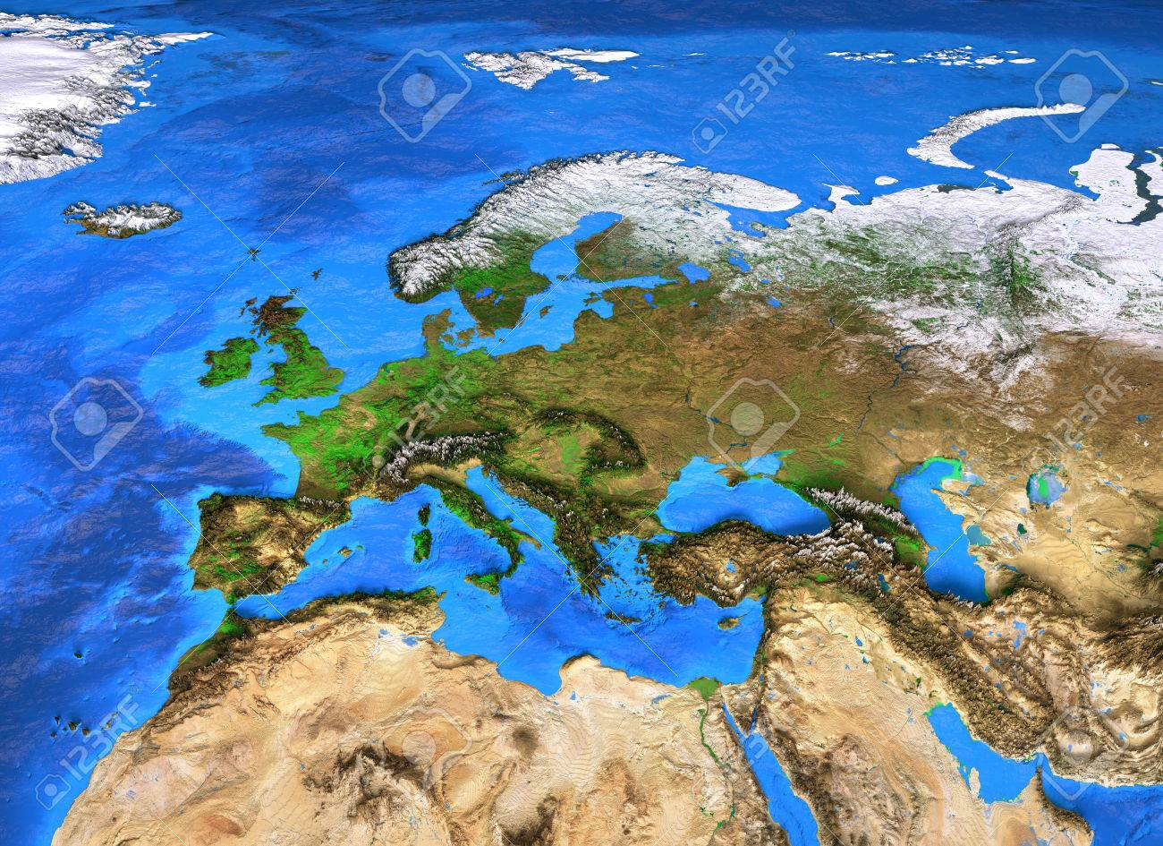 Europe Map Detailed Satellite View Of The Earth And Its Landforms