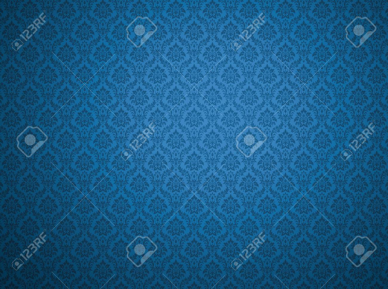 Blue Damask Wallpaper With Floral Patterns Stock Photo