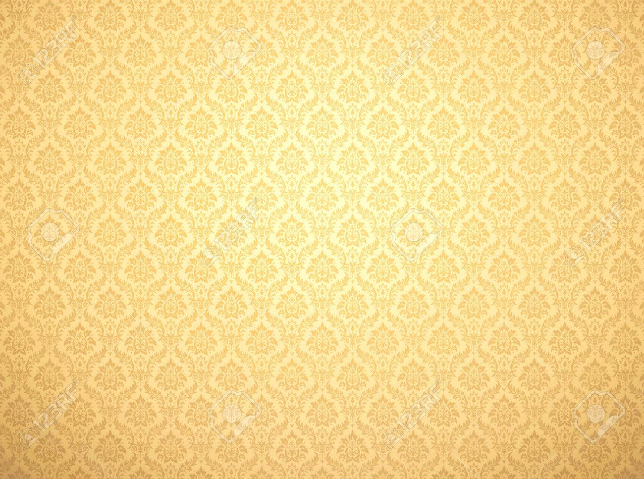 Golden Damask Wallpaper With Floral Patterns Stock Photo Picture