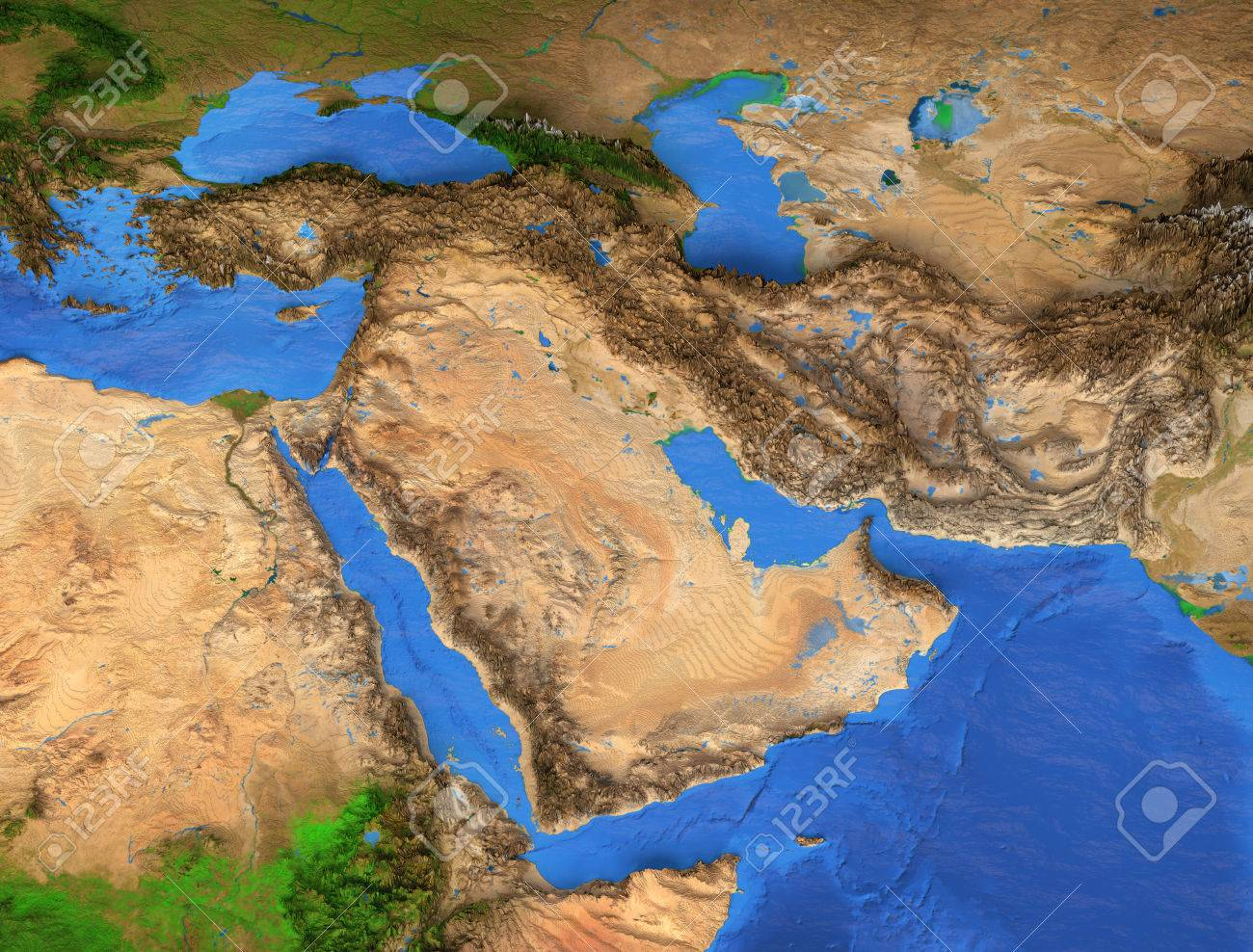 Middle East Map   Gulf Region. Detailed Satellite View Of The