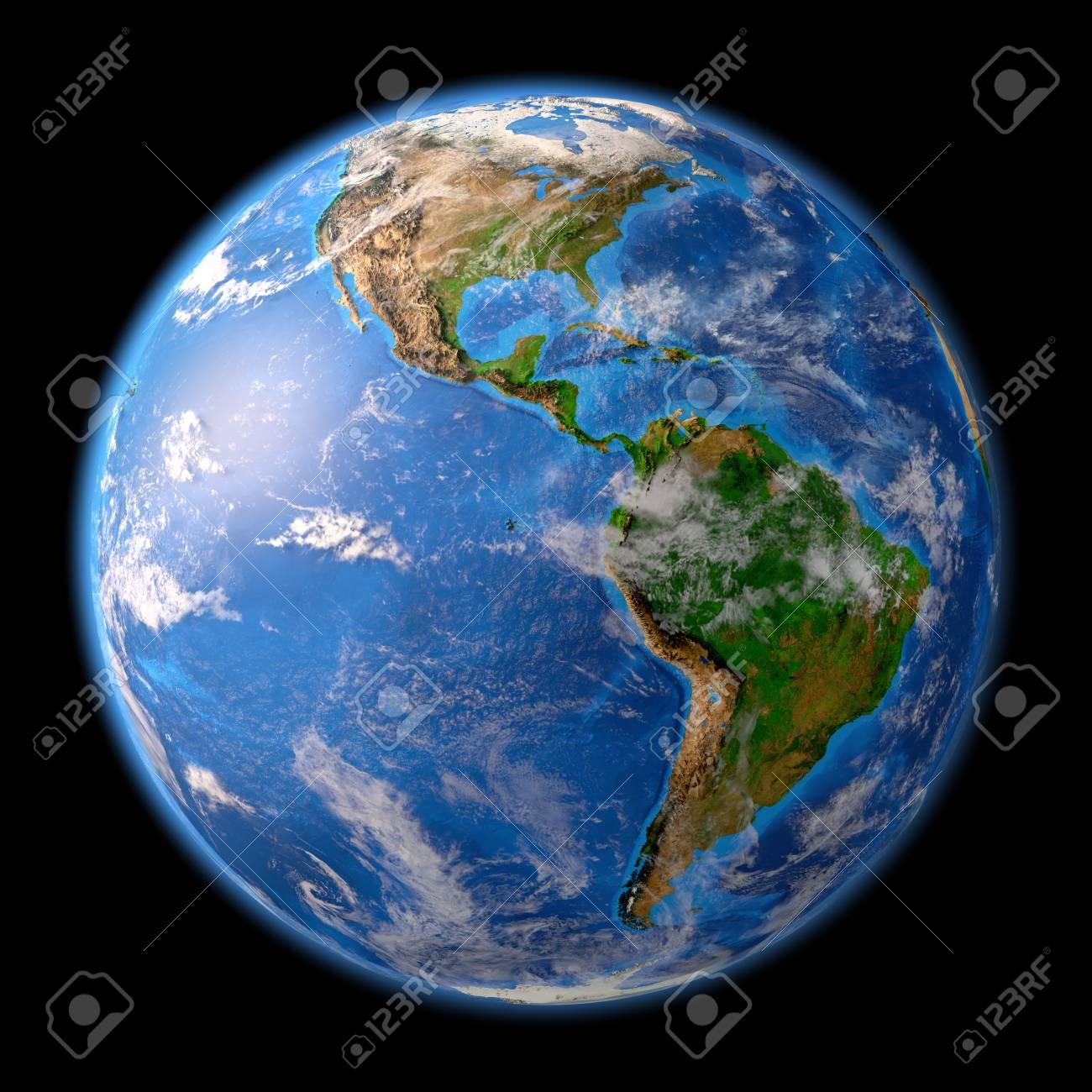 Planeta Tierra Vista Satelital Detallada De La Tierra Y Sus