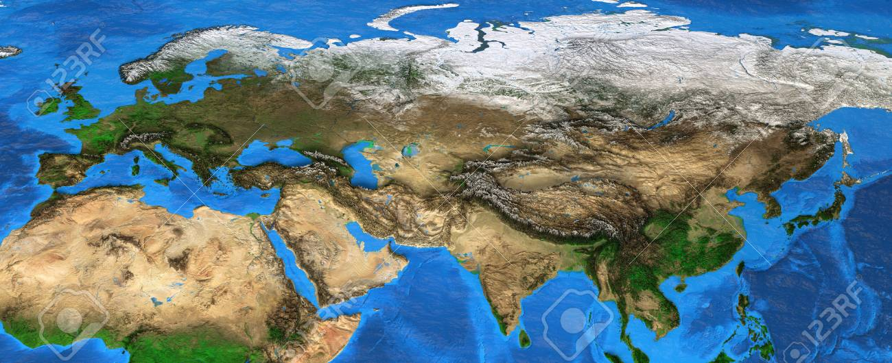 Map Of Asia Landforms.Map Of Eurasia Detailed Satellite View Of The Earth And Its Stock