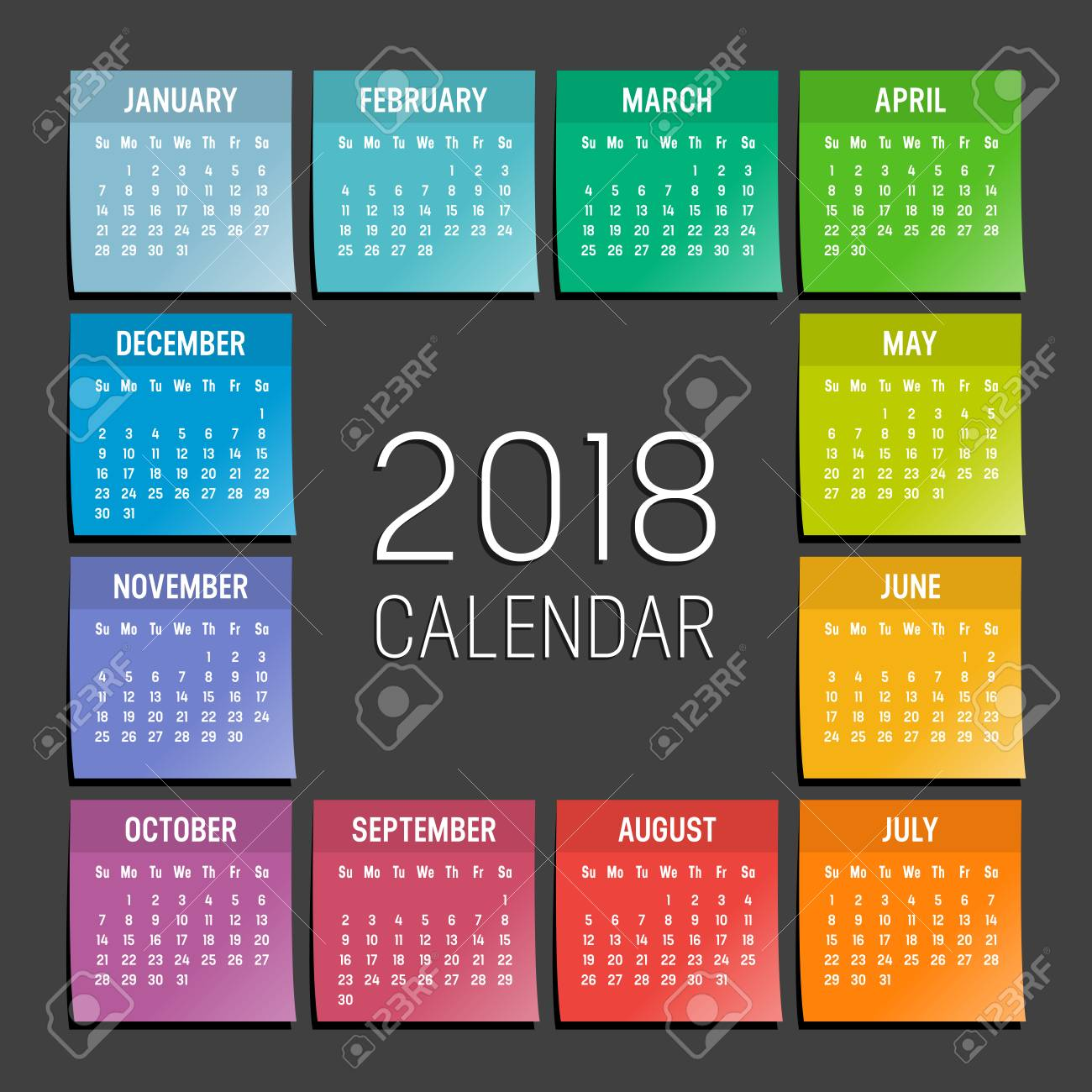 year 2018 seasonal calendar agenda with colorful sticky notes