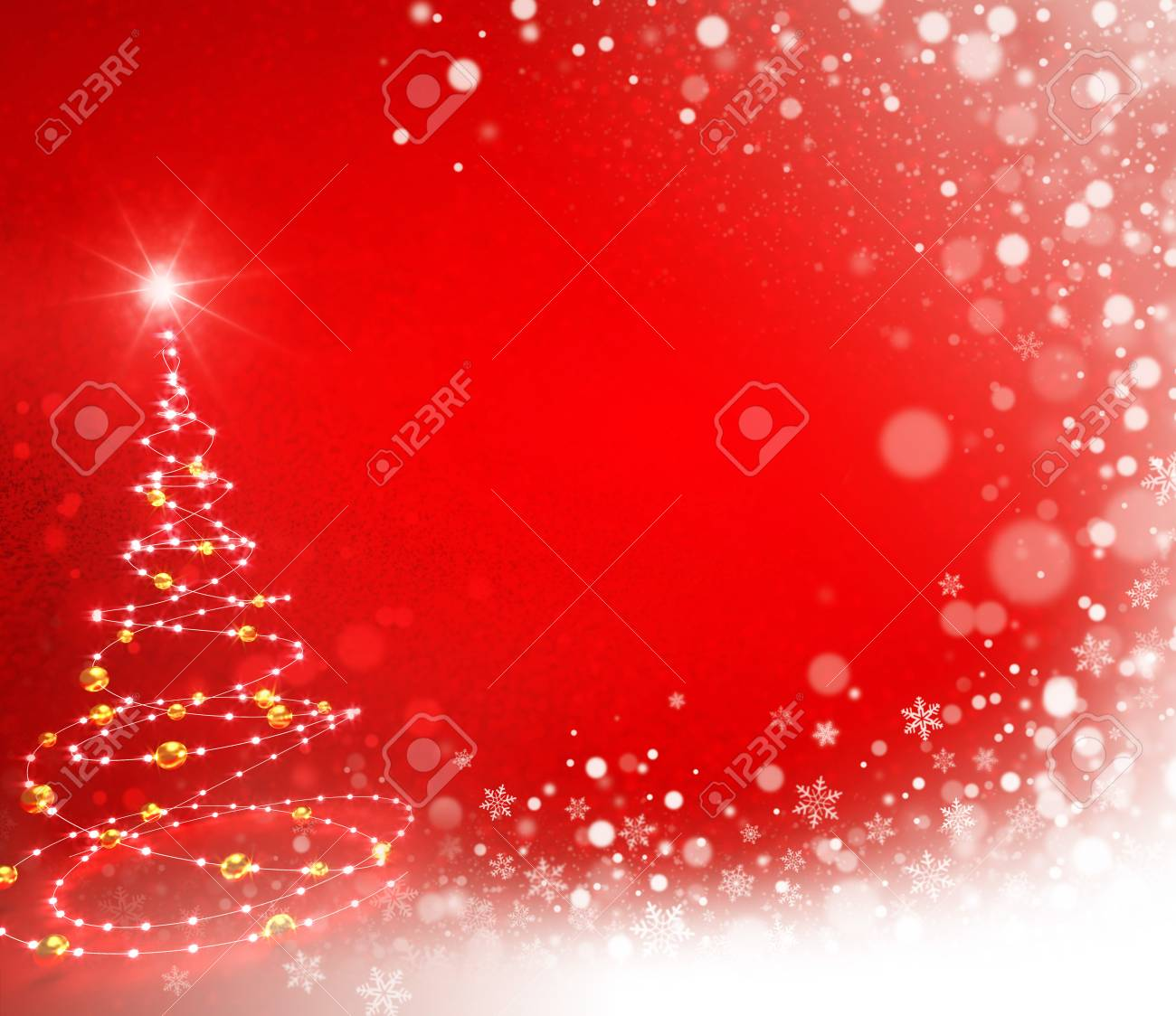 abstract christmas tree illustrated with light strings in a snow wave on a red colored