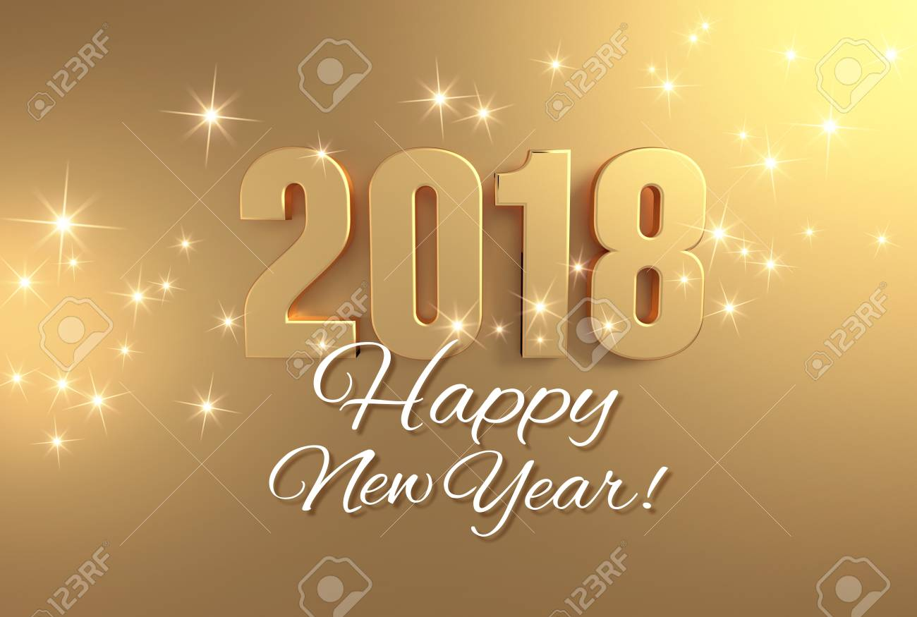 Gold 2018 Year Type And Happy New Year Greetings On A Bright