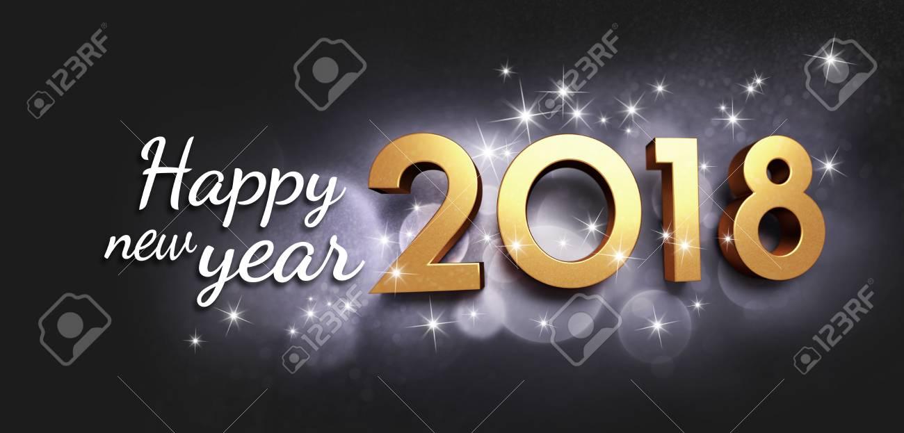 Art Und Grüße Des Neuen Jahres 2018 Des Goldes, Auf Einem Festlichen ...
