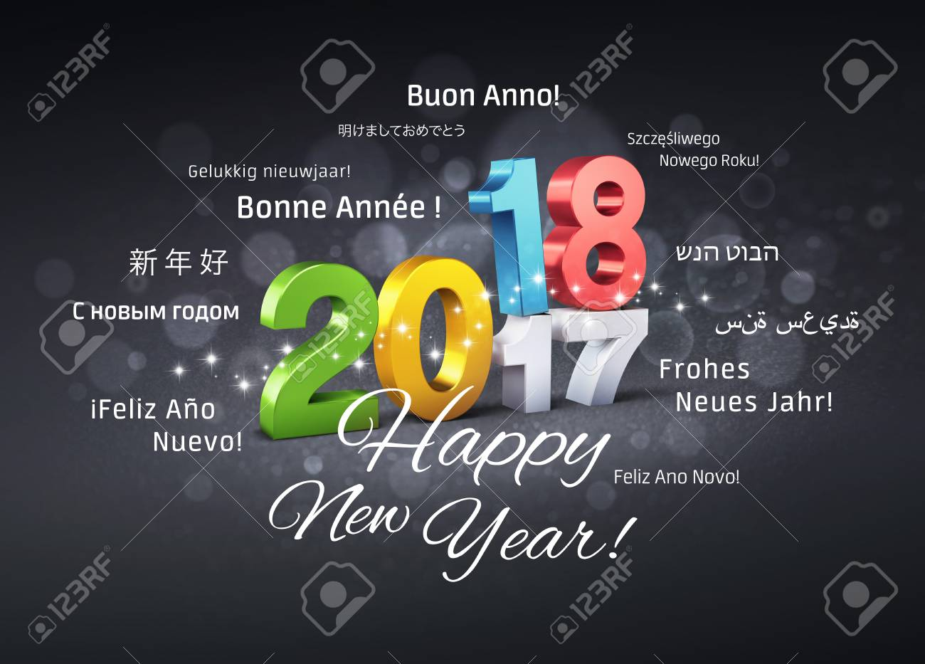 colorful date 2018 above 2017 and happy new year greetings in different languages on a
