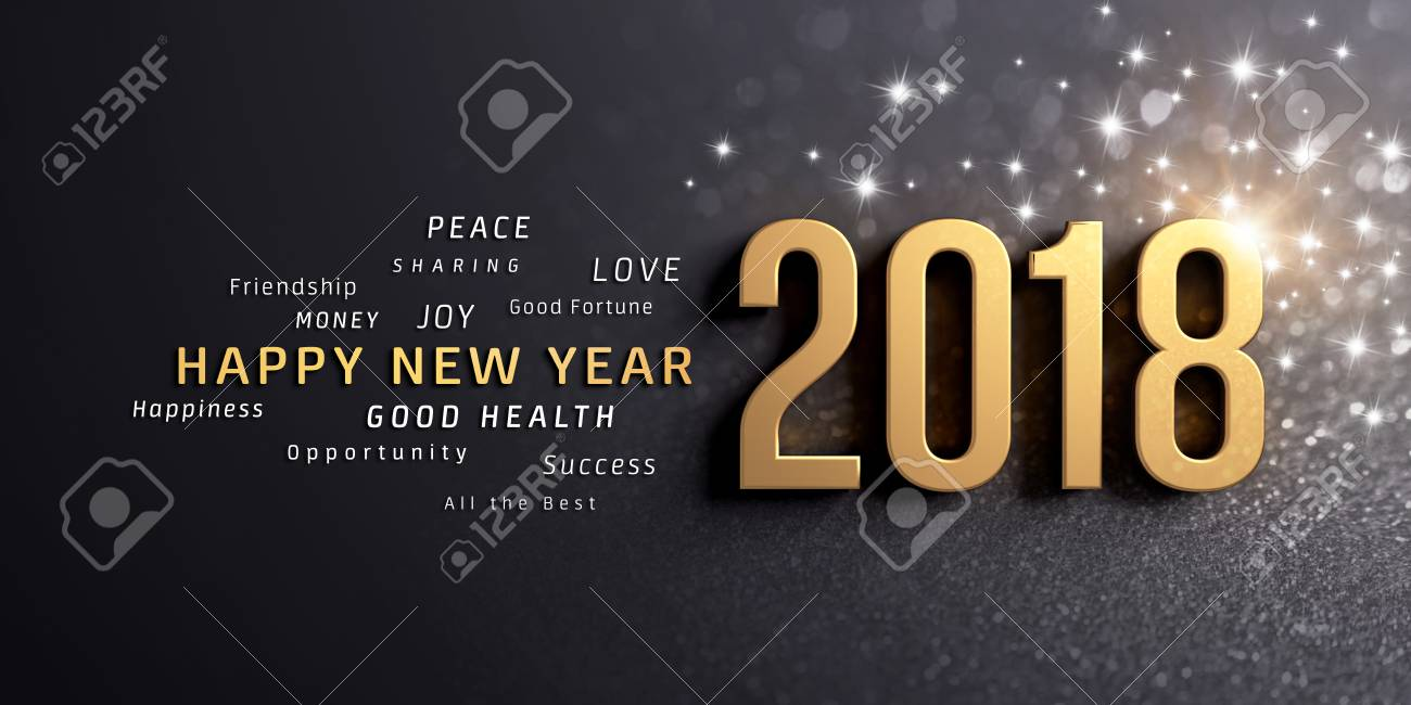 Happy New Year Greetings And Date 2018, Colored In Gold, On A ...