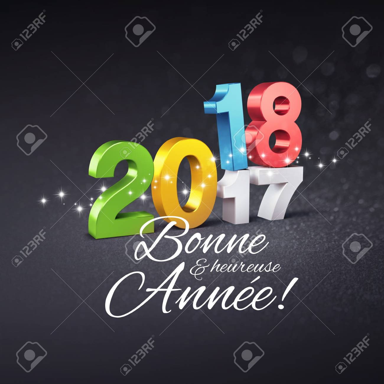 Colorful new year date 2018 above 2017 and greetings in french colorful new year date 2018 above 2017 and greetings in french language on a festive m4hsunfo