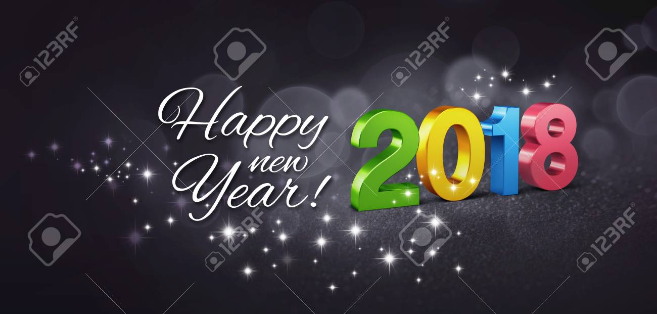 Colorful new year date 2018 and greetings on a glittering black colorful new year date 2018 and greetings on a glittering black background 3d illustration m4hsunfo