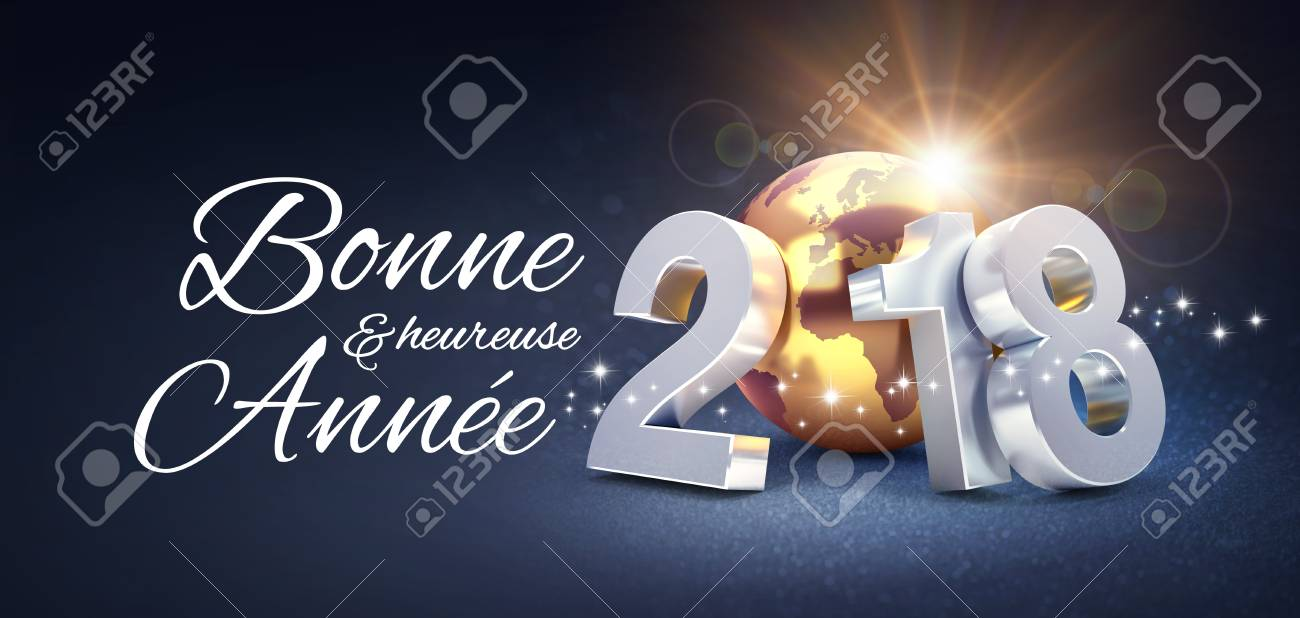 New Year Date 2018 Composed With A Golden Planet Earth And Greetings