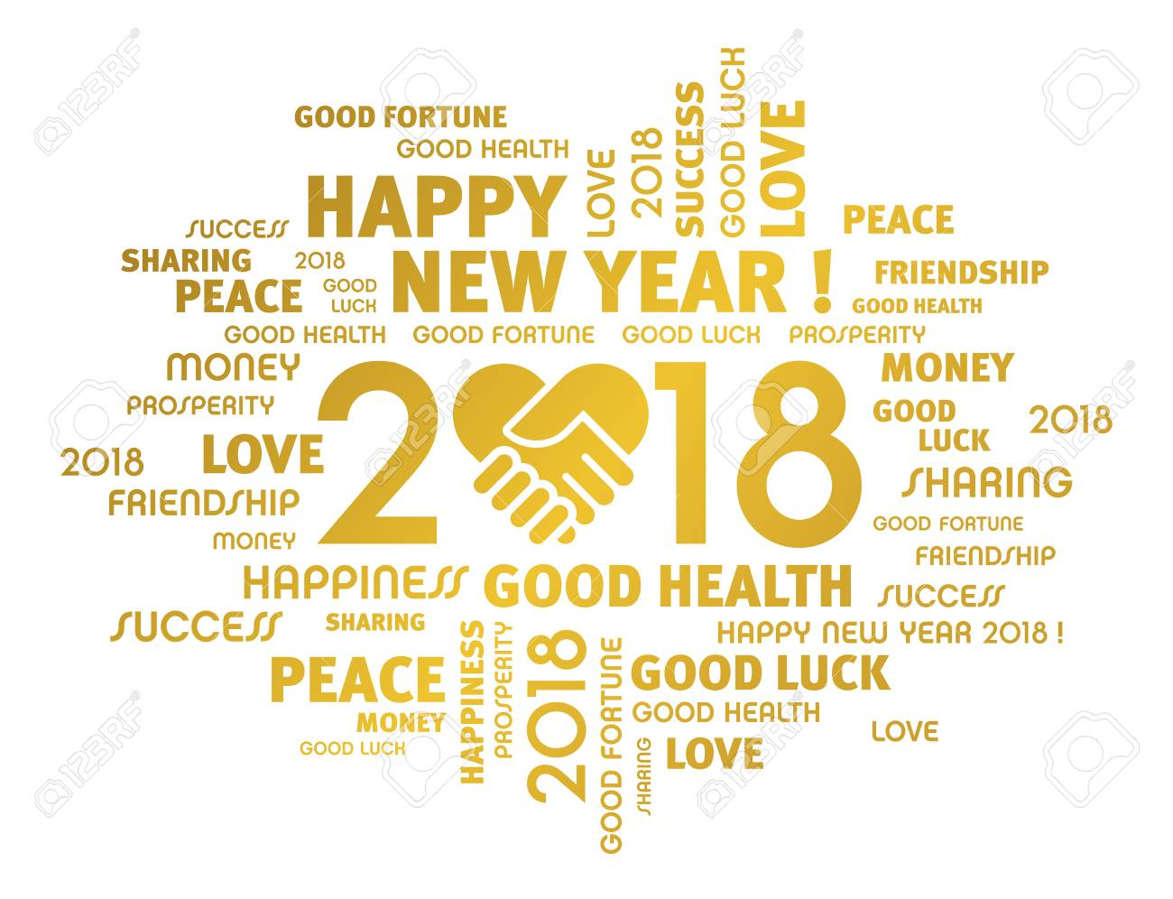 Gold Greeting Words Around New Year 2018 Date, Composed With ...
