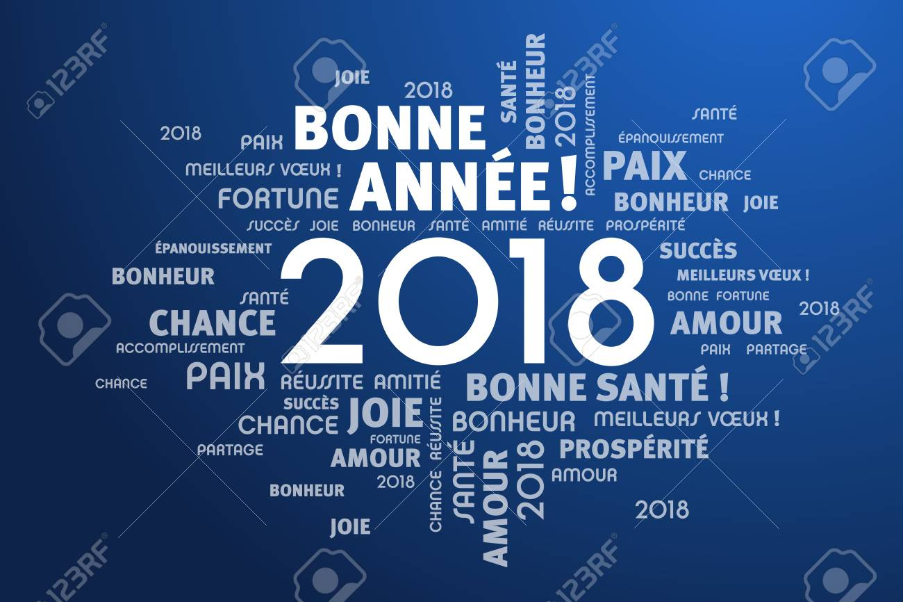 Greeting words in French around New Year date 2018, on blue background