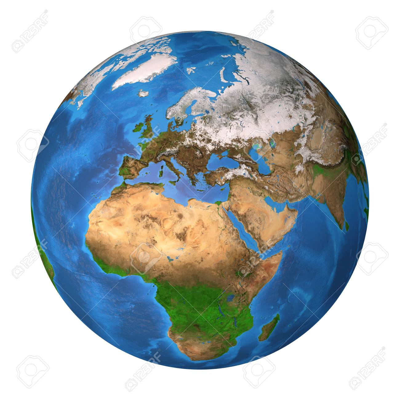 Realistic Satellite View Of Planet Earth In High Resolution Stock