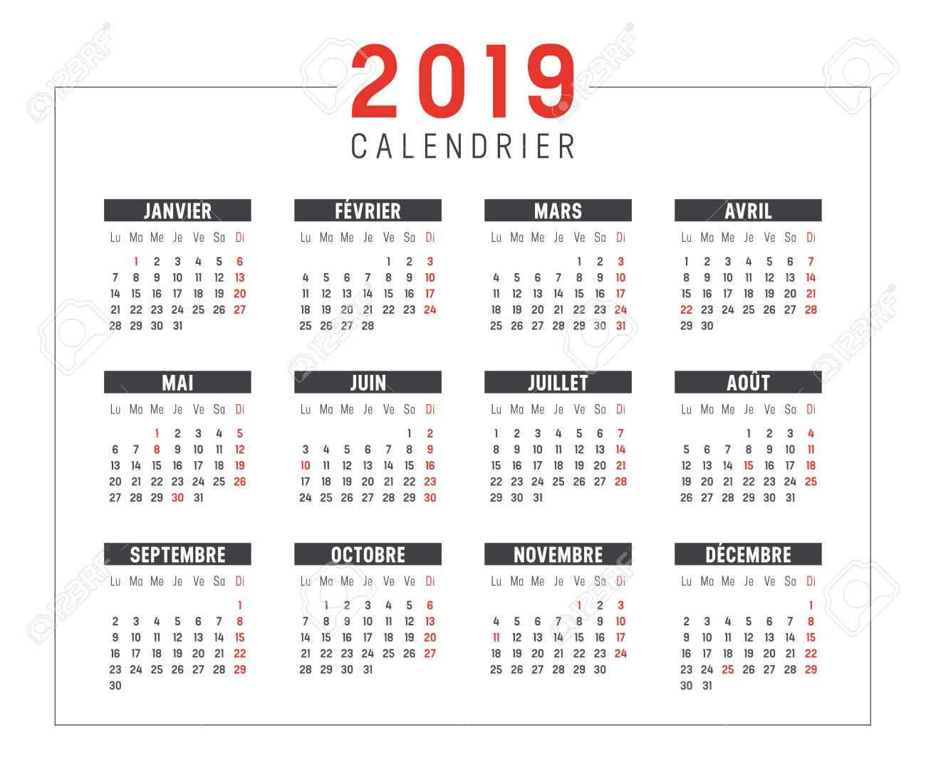 Year 2019 minimalist black and red calendar, in French language, on white background. Vector template. - 106148630