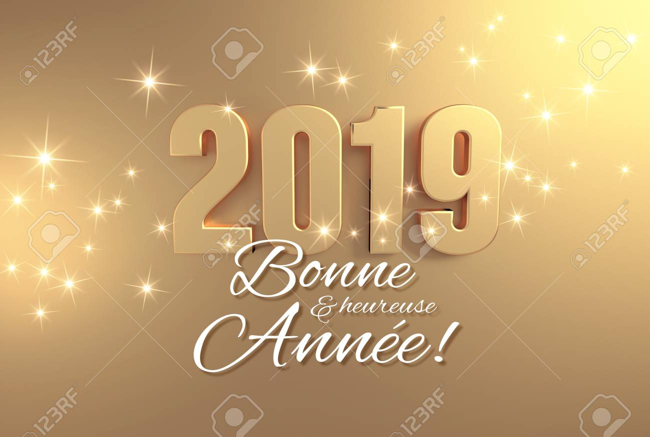 happy new year greetings in french language and 2019 date number colored in gold on