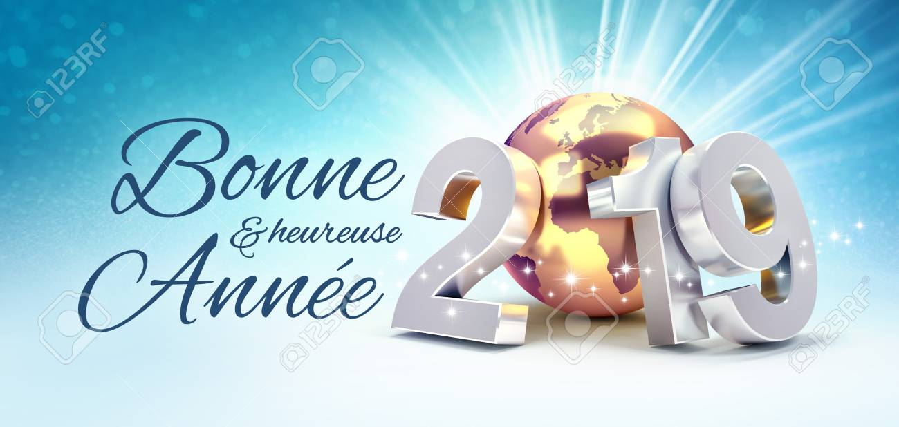 happy new year greetings in french language and 2019 silver date number composed with a gold