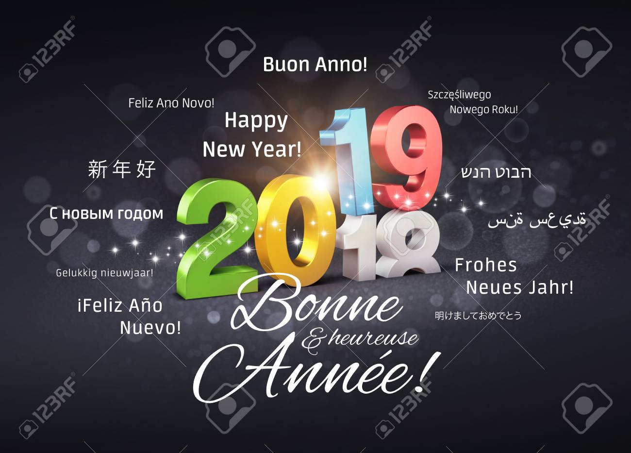 colorful new year 2019 date number above ending year 2018 and greetings in french and foreign