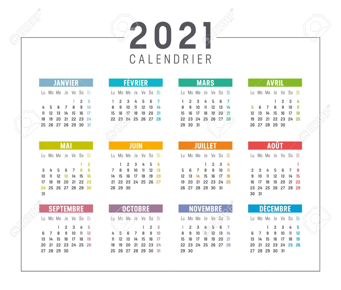 Year 2021 Calendar Colorful Year 2021 Calendar Isolated, In French Language, On