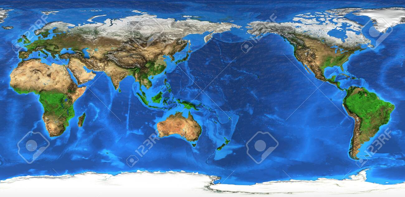 Detailed flat view of the Planet Earth and its landforms. - 157232262