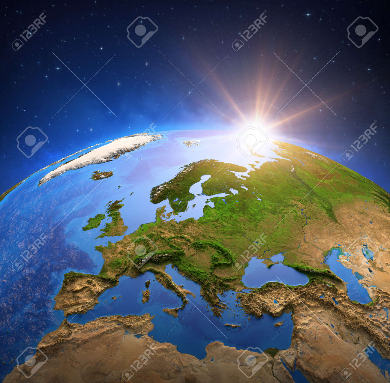 Surface of the Planet Earth viewed from a satellite, focused on Europe, sun rising on the horizon. Physical map of European countries. 3D illustration - 157943809