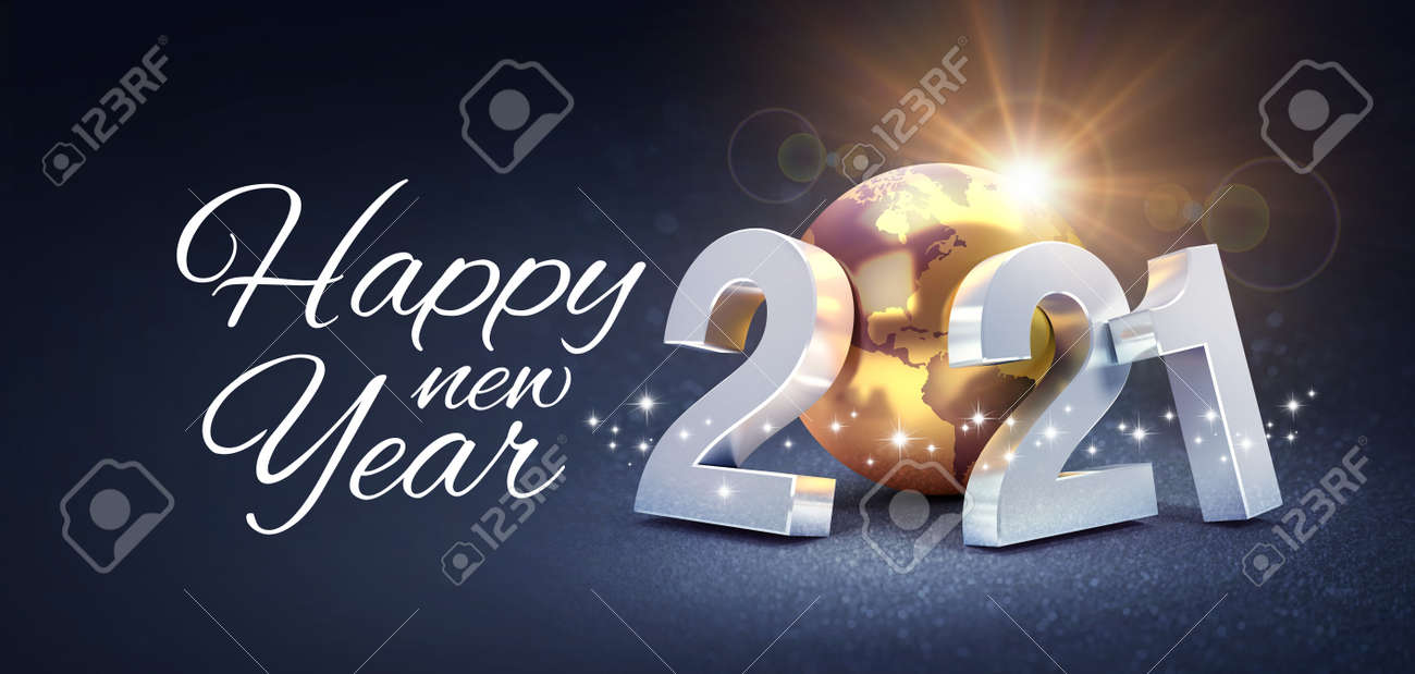 Happy New Year greeting and silver date 2021 composed with a gold planet earth, glittering on a black background - 3D illustration - 159347788