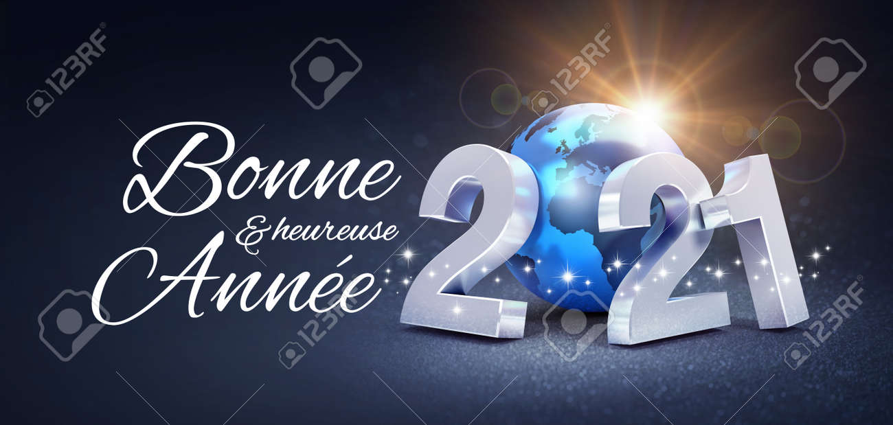 Happy New Year greeting in French language and silver date 2021 composed with a blue planet earth, glittering on a black background - 3D illustration - 159347789