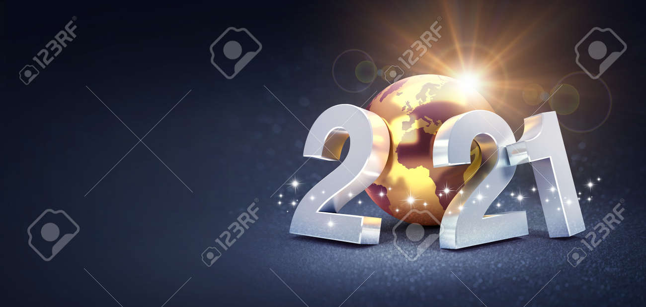 Silver date number 2021 composed with a gold planet earth, glittering on a black background - 3D illustration for Greeting card - 159347791