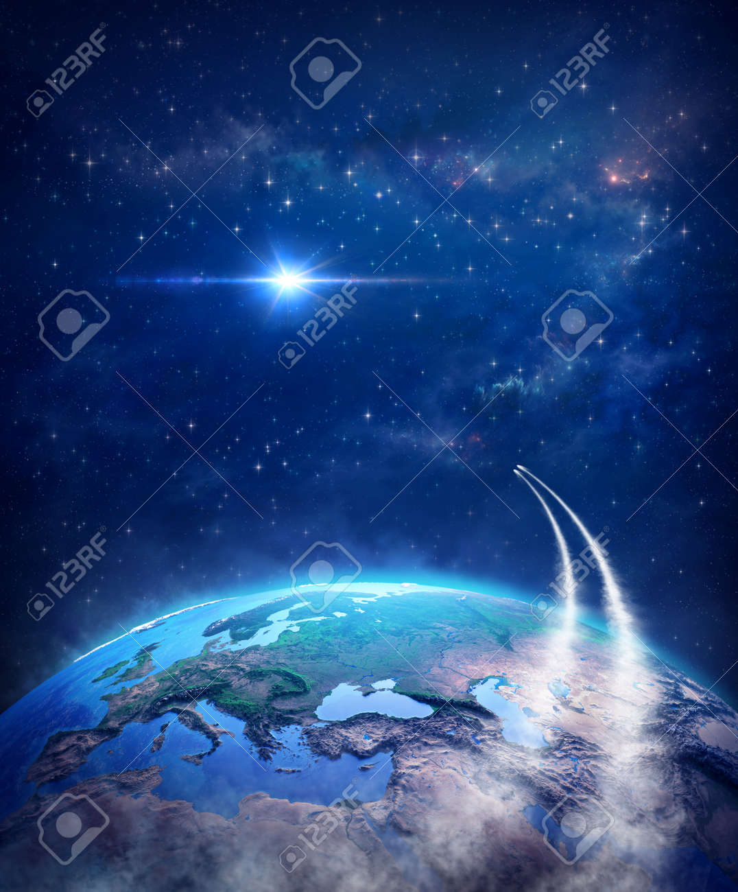 Spaceships leaving planet Earth for universe exploration and constellations discovery, bright star shining into deep space. Comets in orbit around the world, traveling through cosmos and galaxy. - 160820778