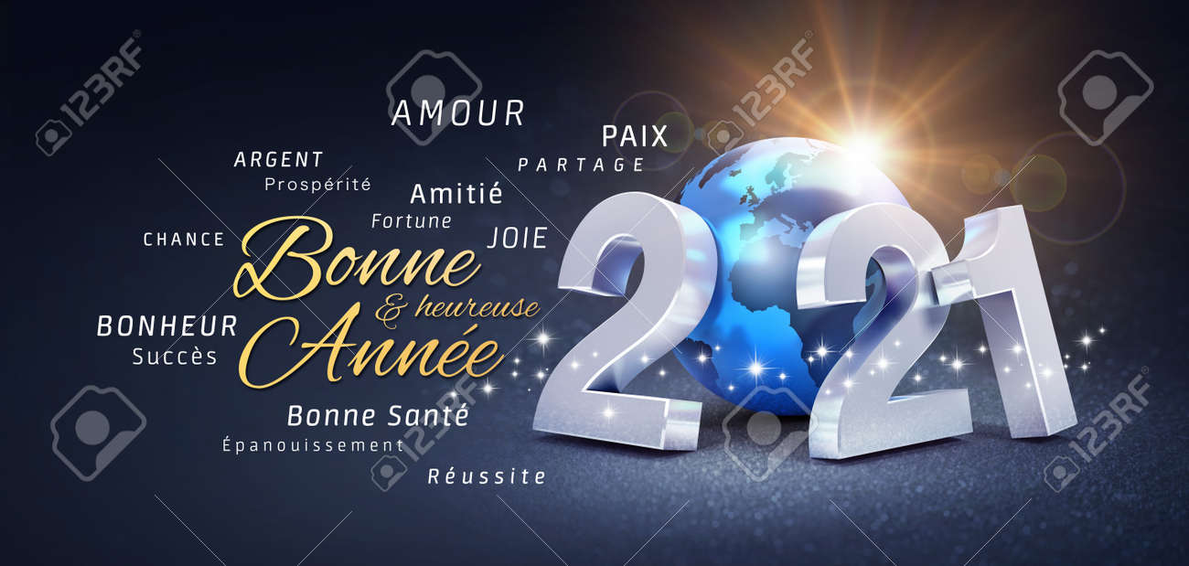 2021 New Year date number, composed with a blue planet earth, greetings and best wishes in French language, on a festive black background - 3D illustration - 160820779