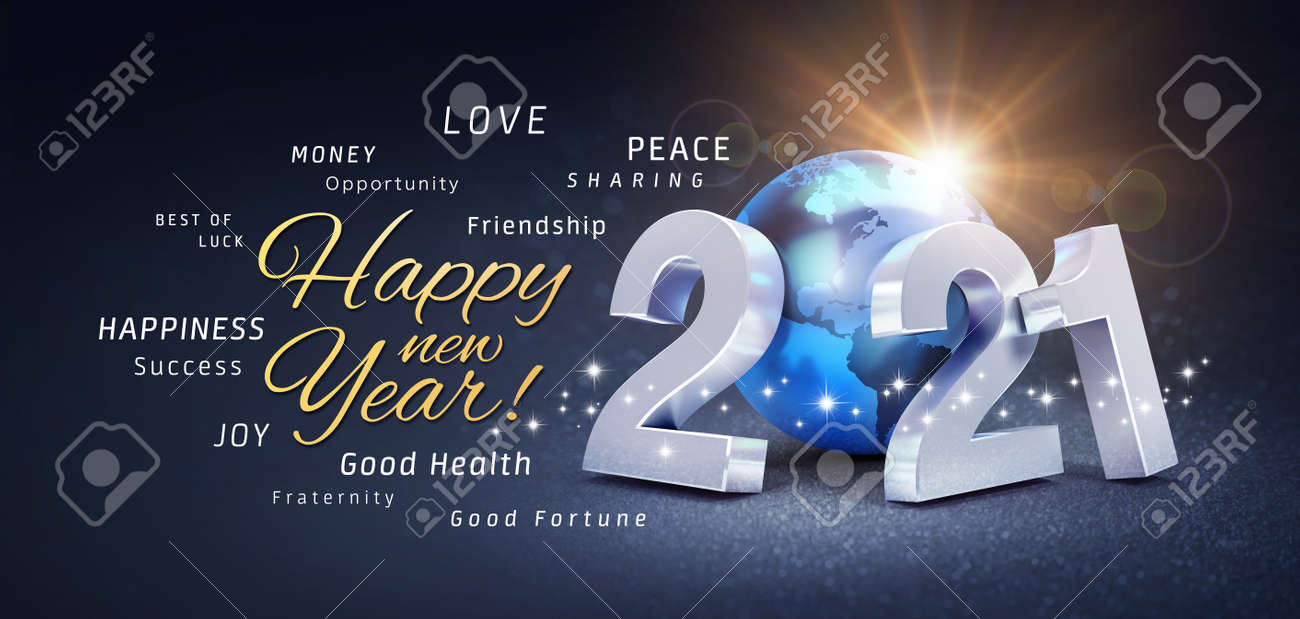 Happy New Year greetings, best wishes and 2021 date number, composed with a blue planet earth, on a festive black background, with glitters and stars - 3D illustration - 160773082