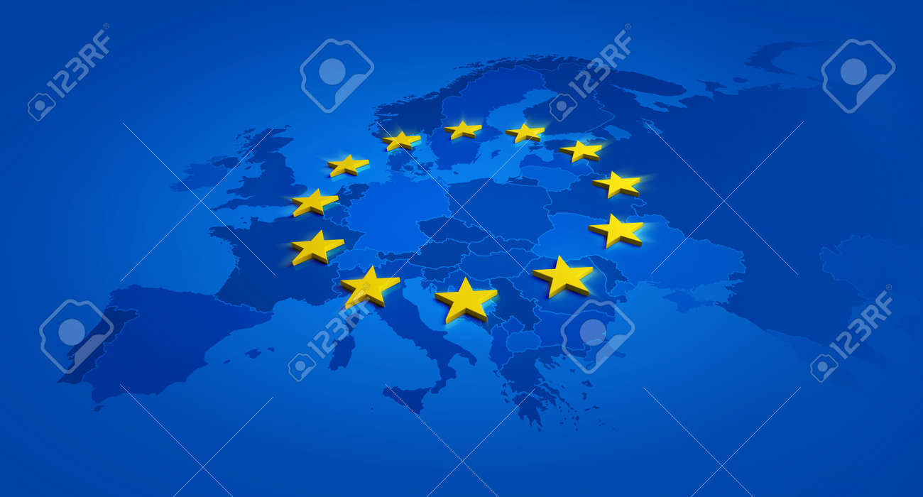 Europe blue banner and yellow stars with European Union map inside - 3D illustration - 160934752
