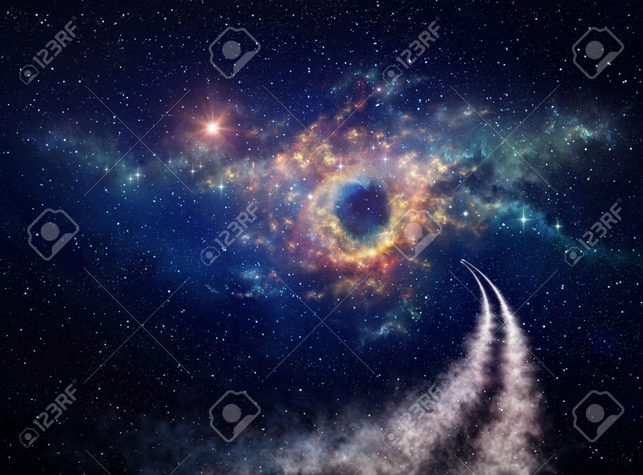 Spaceships traveling in universe toward nebula and stars clusters for constellations discovery. Shuttle journey into deep space. - 161508837