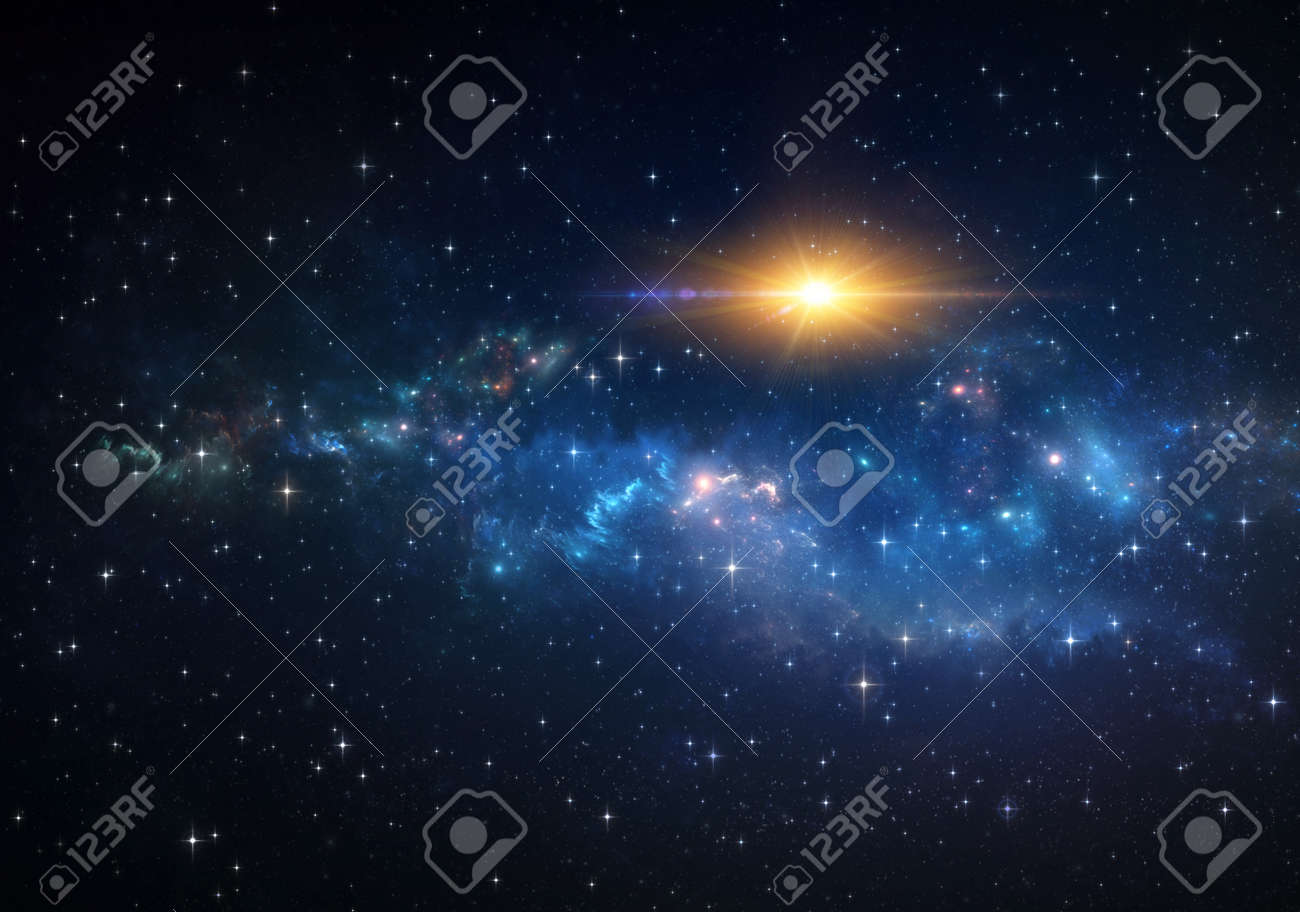 Galaxy, nebula, sun and stars constellations in Universe. Giant explosion into deep space. - 161508838