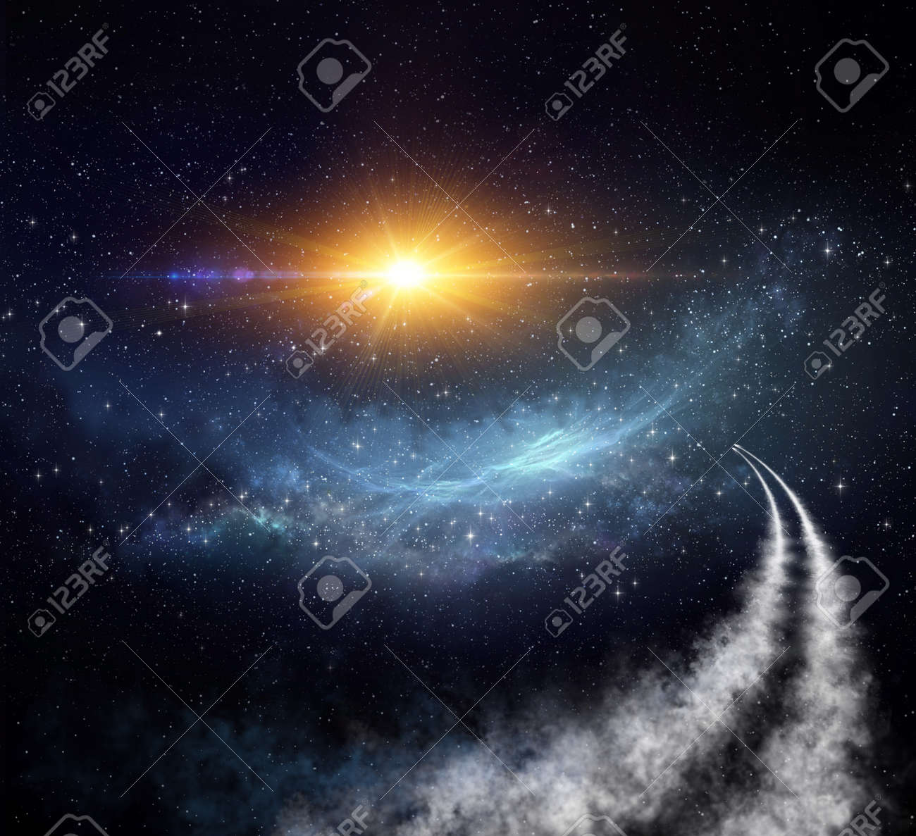 Spaceships traveling in universe toward nebula and stars clusters for constellations discovery. Shuttle journey into deep space. - 161907866