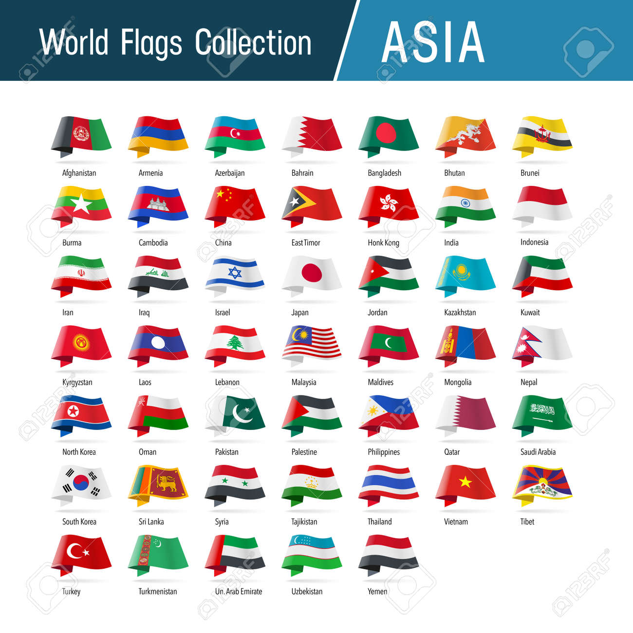 Flags of Asia, waving in the wind. Icons pointing location, origin, language. Vector world flags collection. - 163395408