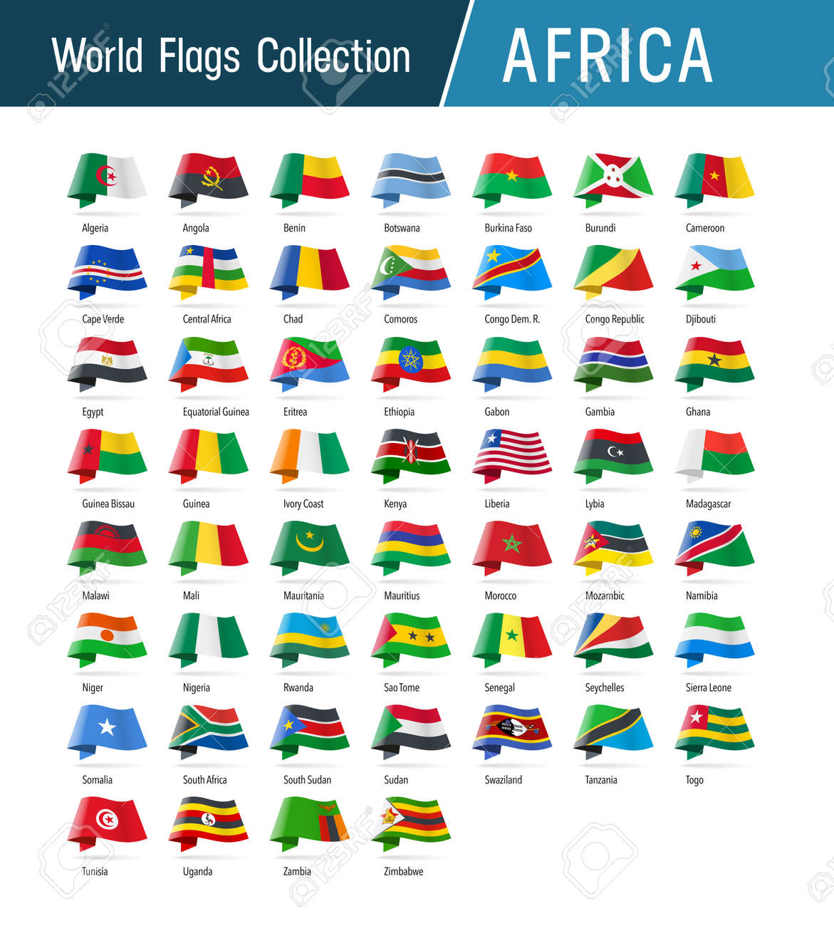 Flags of Africa, waving in the wind. Icons pointing location, origin, language. Vector world flags collection. - 163394673