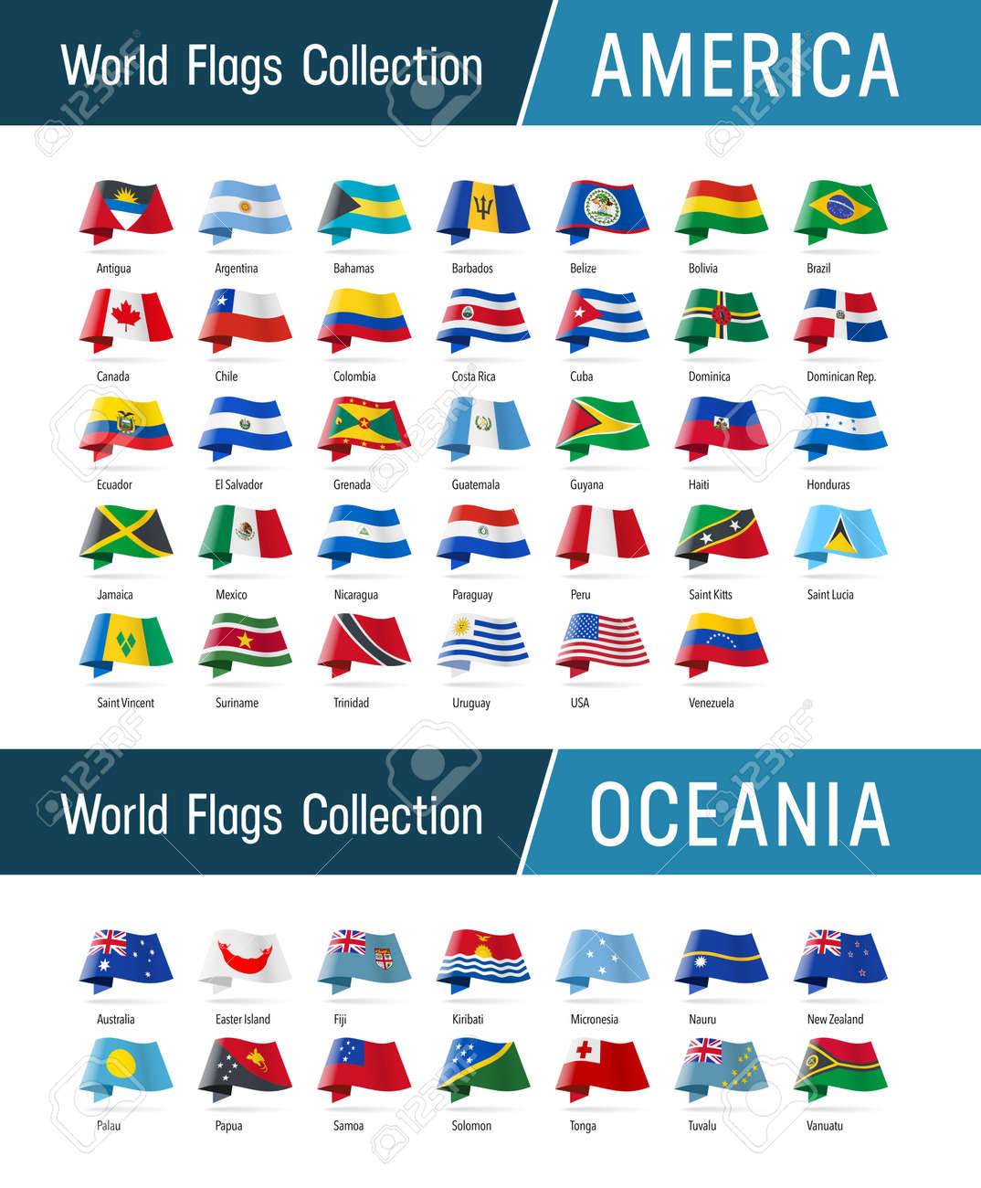 Flags of America and Oceania, waving in the wind. Icons pointing location, origin, language. Vector world flags collection. - 163517640