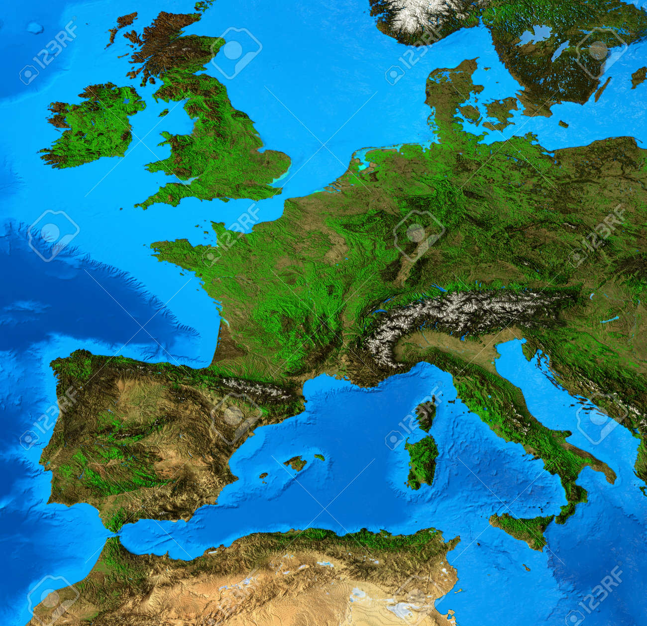 Geographical map of Western Europe, centered on France. Detailed flat view of the Planet Earth and its landforms. 3D illustration - 164461755