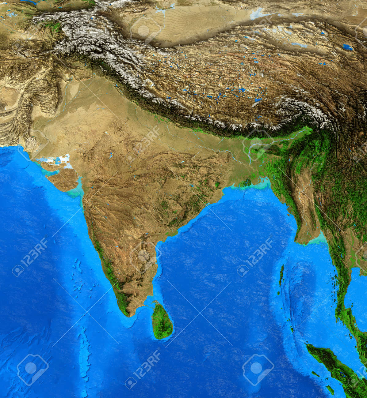 Physical map of India, Nepal, Himalayas and Tibet. Detailed flat view of the Planet Earth and its landforms. 3D illustration - 164461756