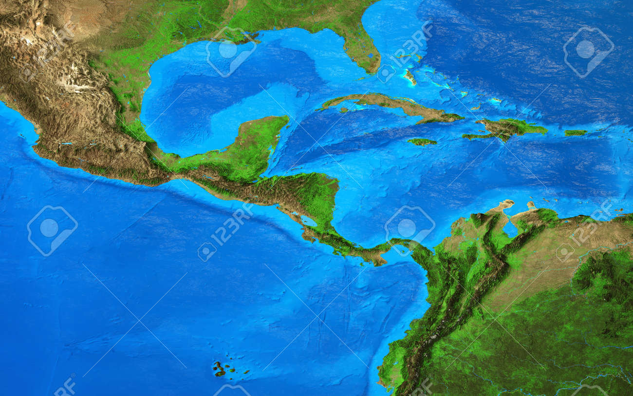 Physical map of Central America and the Caribbean. Detailed flat view of the Planet Earth and its landforms. 3D illustration - 164805379