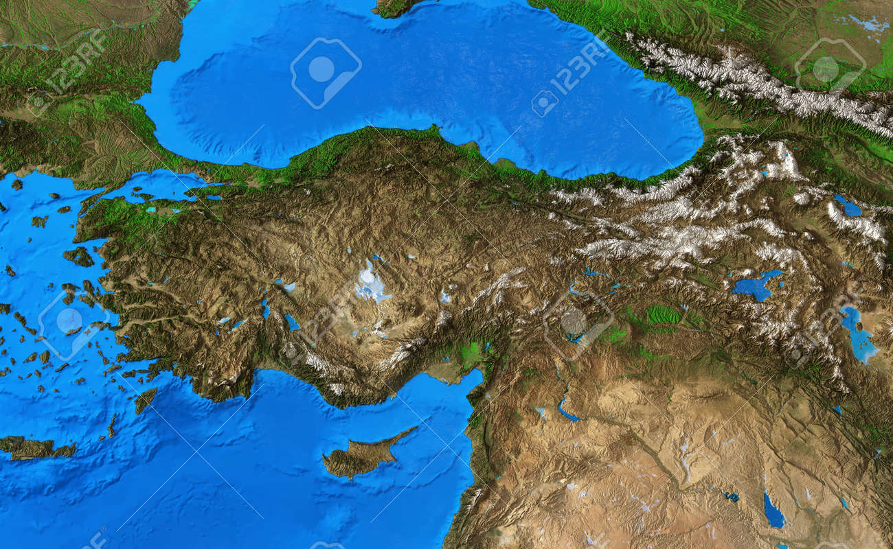 Physical map of Turkey. Detailed flat view of the Planet Earth and its landforms. 3D illustration - 165113419