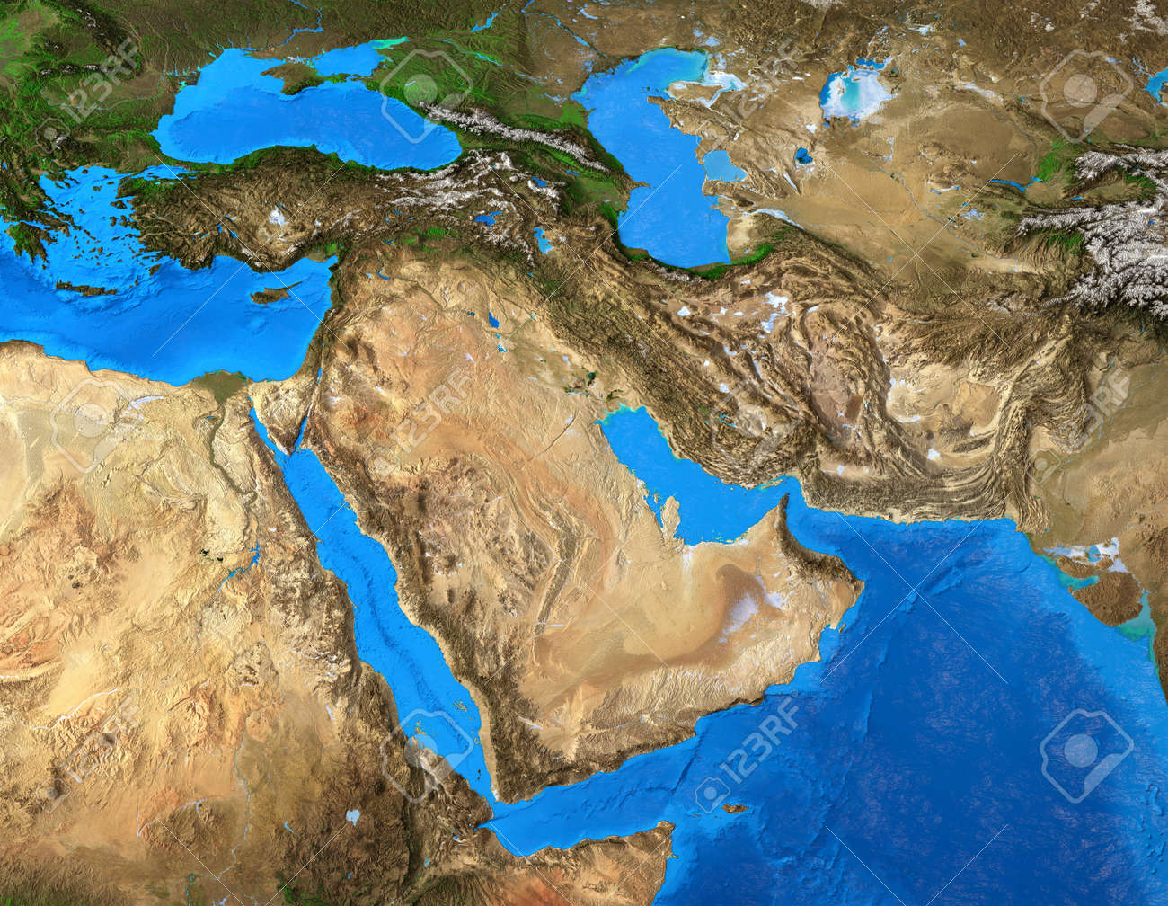 Physical map of Middle East. Geography of Arabian Peninsula. Detailed flat view of the Planet Earth and its landforms. 3D illustration - 165123205